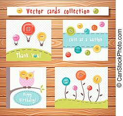 vecteur, cartes, collection, à, mignon, buttons., parfait, pour, douche bébé, anniversaire, et, autre, events.