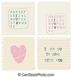 vecteur, cartes, ensemble, amour, écrit main
