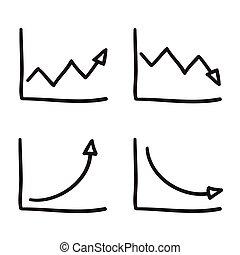 vecteur, cartesian, lignes, système, illustration, main, infographic, noir, graphiques, coordonnée, dessiné, icône