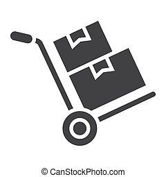 vecteur, carton, 10., graphiques, solide, modèle, livraison, signe, eps, boîtes, fond, camion, chariot, logistique, icône, blanc, main, glyph