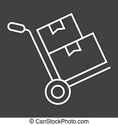 vecteur, carton, 10., linéaire, modèle, livraison, signe, eps, boîtes, fond, noir, chariot, logistique, icône, camion, ligne, main, graphiques