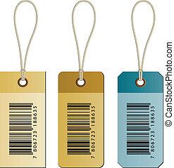 vecteur, carton, barcode, étiquettes