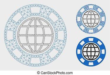 vecteur, casino, triangle, puce, global, 2d, maille, modèle, mosaïque, icône