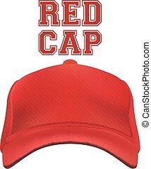 vecteur, casquette, isolé, rouges, white.