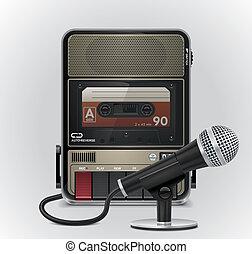 vecteur, cassette, recorderµphone