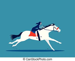 vecteur, cavalcade, concept affaires, illustration., femme affaires, horse.