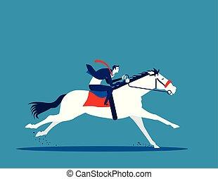 vecteur, cavalcade, concept affaires, illustration., homme affaires, horse.