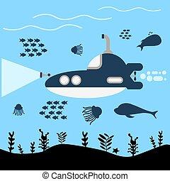 vecteur, ceci, sous-marin, bleu, mer, illustration