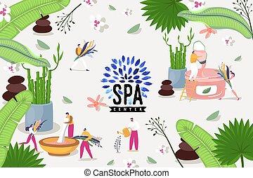 vecteur, centre, illustration., traitement, homme, vert, herbier, produits de beauté, beauté, relâcher, spa, peau, feuilles, coloré, gens, flowers.