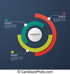 vecteur, cercle, diagramme, infographic, gabarit, pour, données, visualization.
