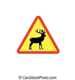 vecteur, cerf, coloré, signe