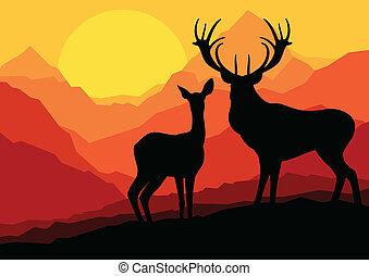 vecteur, cerf, forêt