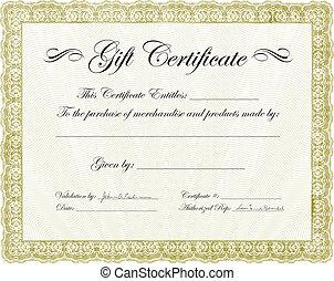 vecteur, certificat don, cadre