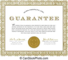 vecteur, certificat, garantie