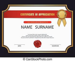 vecteur, certificat, template.