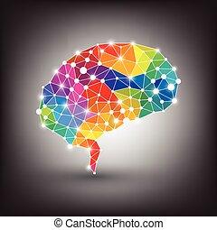 vecteur, cerveau, concept, humain, coloré