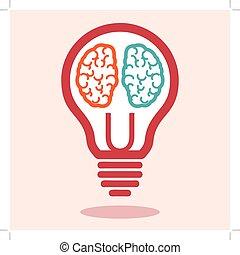 vecteur, cerveau, droit, gauche, créatif