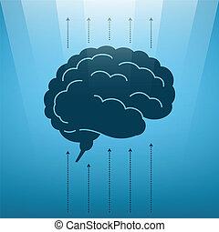 vecteur, cerveau, essor, concept, humain