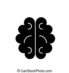 vecteur, cerveau, fond, icône, isolé, signe, illustration