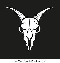 vecteur, chèvre, crâne