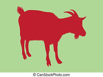 vecteur, chèvre, silhouette