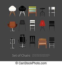 vecteur, chaise, ensemble, illustration, meubles