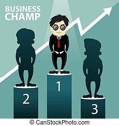 vecteur, champion, illustration affaires