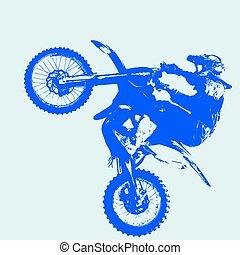 vecteur, championship., motocross, participates, cavalier, illustration.
