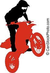 vecteur, championship., motocross, participates, cavalier, illustration