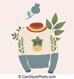 vecteur, chandails, fleurs, noël, illustration, laid