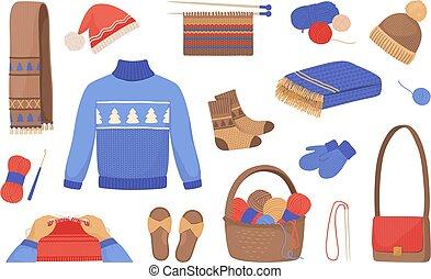 vecteur, chandails, laine, écharpes, hiver, dessin animé,...