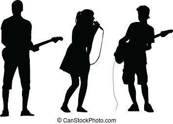vecteur, chanteur, guitariste, silhouette
