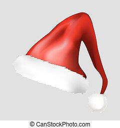 vecteur, chapeau, fond, icône, isolé, noël blanc, santa, symbole, illustration, design.