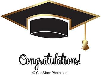 vecteur, chapeau, remise de diplomes
