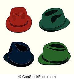 vecteur, chapeaux, hommes, collection, coloré