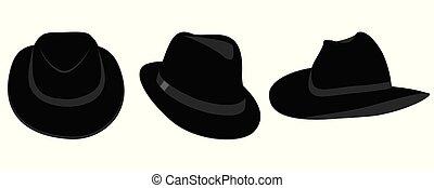 vecteur, chapeaux, hommes, noir, collection
