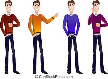vecteur, characters., ensemble, dessin animé, business