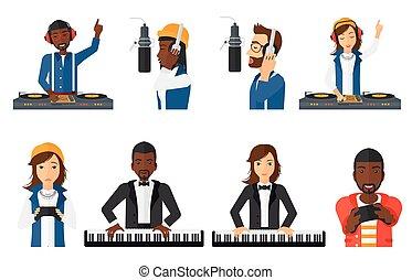 vecteur, characters., ensemble, musiciens, gens