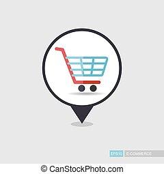 vecteur, charrette, centre commercial, achats, épingle,...