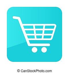 vecteur, charrette, centre commercial, icône, achats, isolé