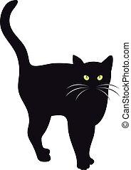 vecteur, chat noir