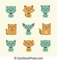 vecteur, chats