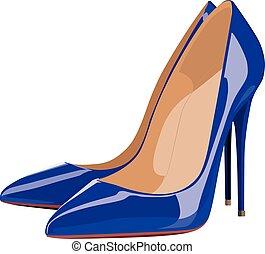 vecteur, chaussure, réaliste, illustration, isolé, élevé, armé, bleu