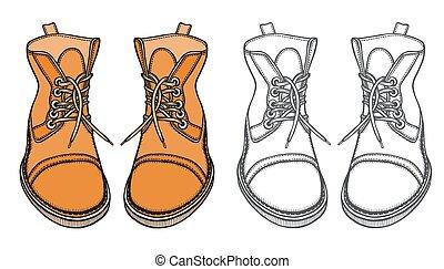 vecteur, chaussures, bottes