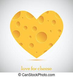 vecteur, cheese., concept, amour, illustration