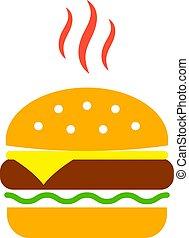 vecteur, cheeseburger, icône