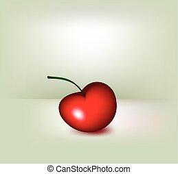 vecteur, cherry., rouges