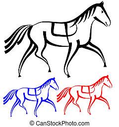 vecteur, chevaux, ensemble, collection, outlines.