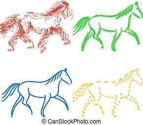vecteur, chevaux, ensemble, collection, outlines., couleurs