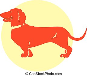 vecteur, chien basset allemand